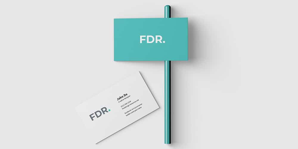 Top View Business Card Mockup PSD