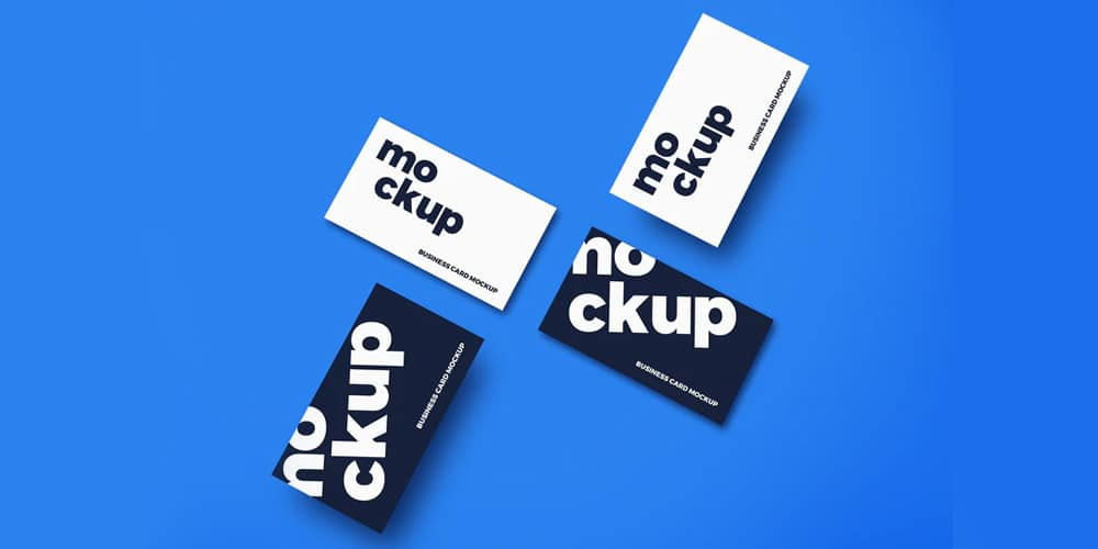 Top View Business Cards Mockup