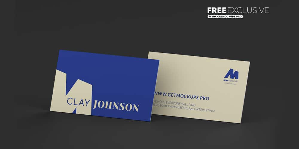 Two Paper Business Cards Mockup PSD