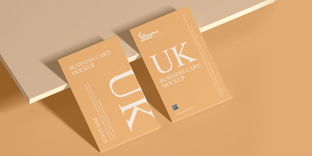 UK 85×55 mm Size Business Card Mockup
