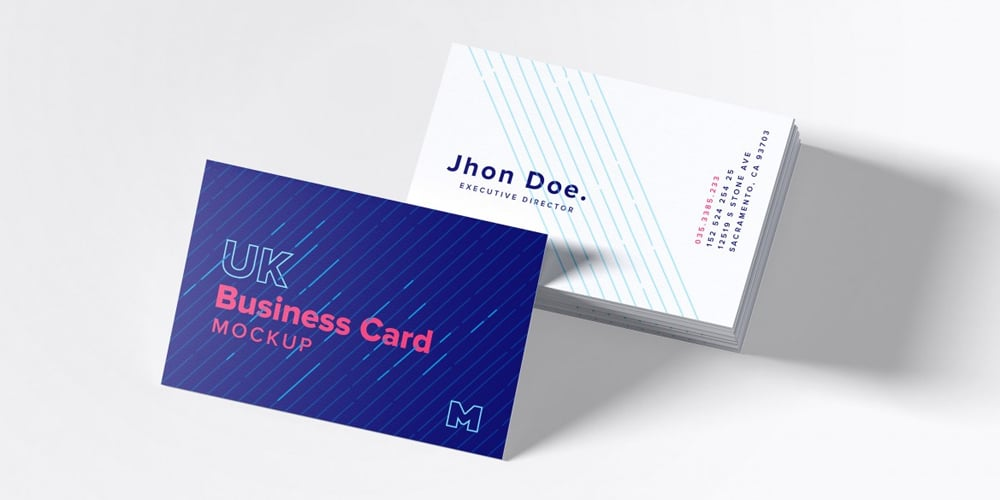 UK Business Cards Mockup PSD