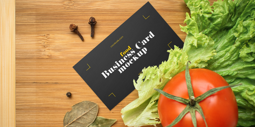 Veggie Board Background Business Card Mockup