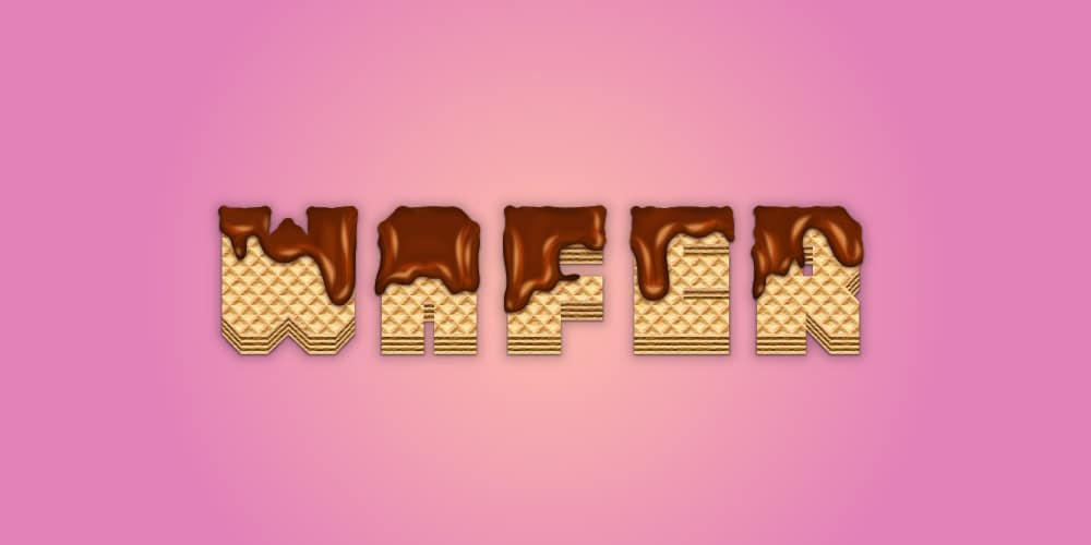 Wafer Text Effect Covered With Melted Chocolate