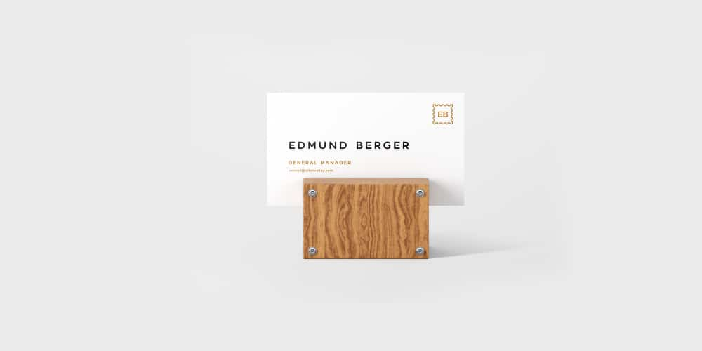business card mockup on a wooden support