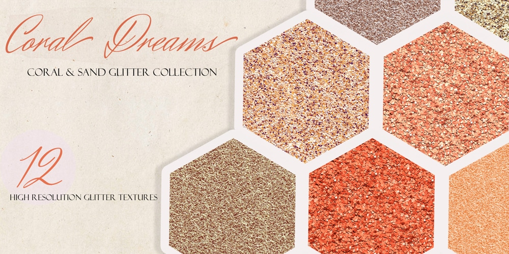 Coral Dream Glitter Textures