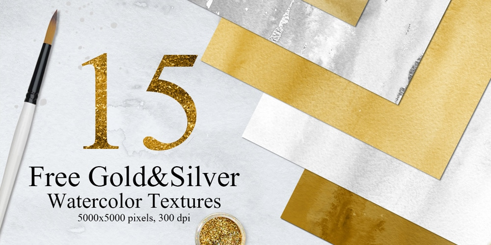 Free Gold and Silver Watercolor Textures