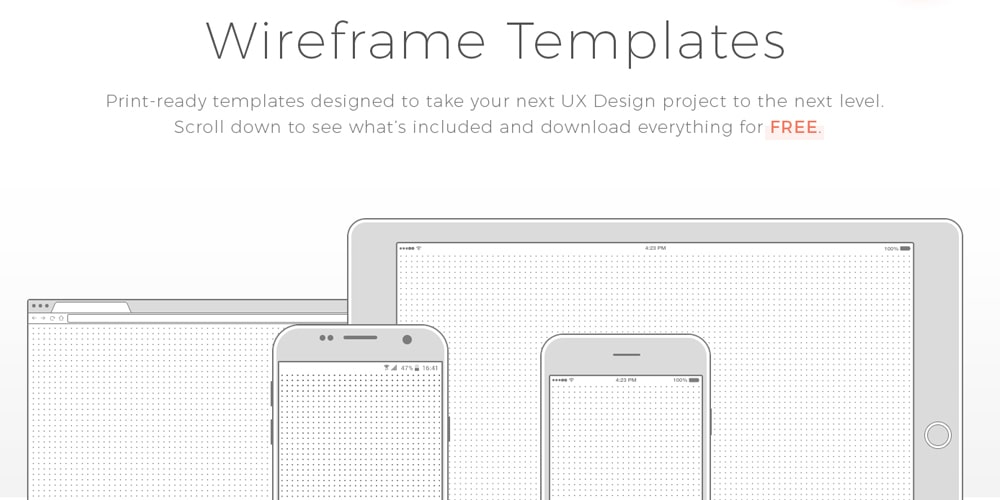 Free Wireframe Templates PSD