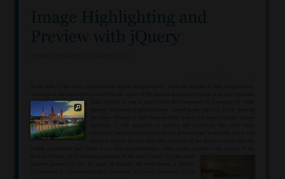 Image Highlighting and Preview with jQuery