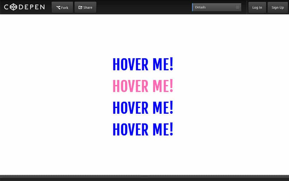 Links hover gradient effect