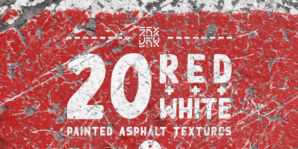 Red+White Painted Asphalt Textures