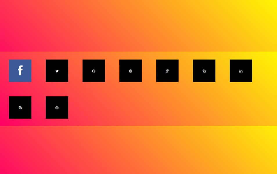 Social Media icons With CSS 3D hover effects