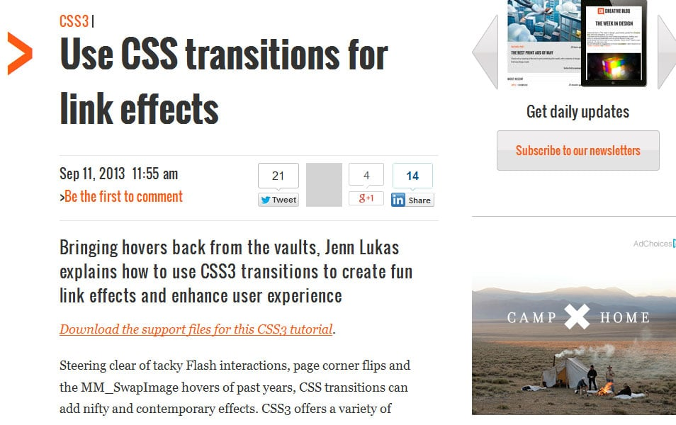 Use CSS transitions for link effects