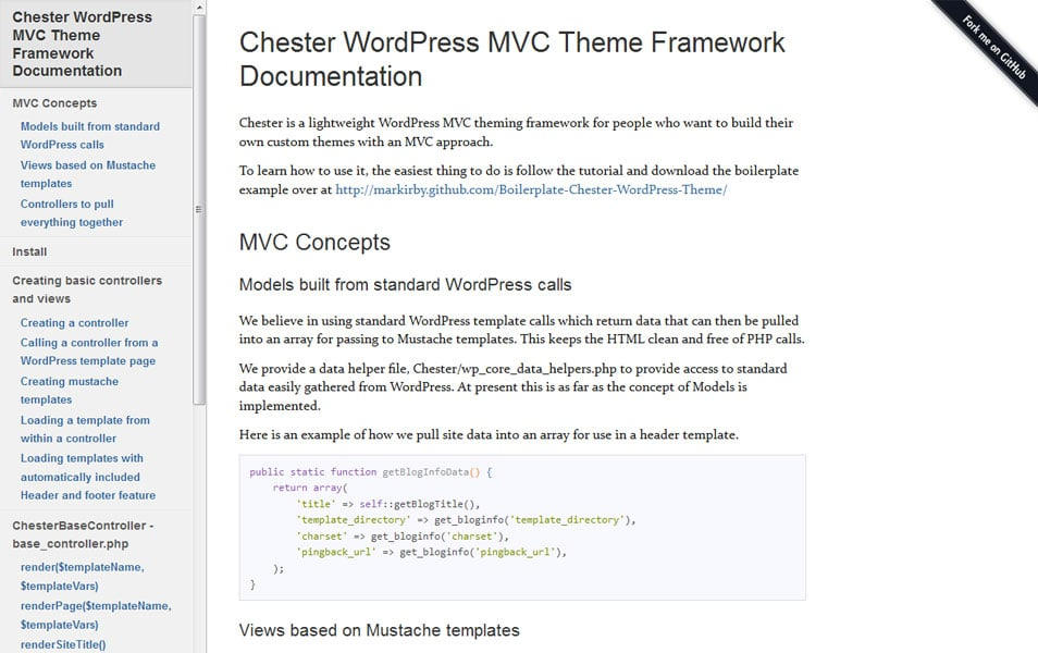Chester WordPress MVC Theme Framework