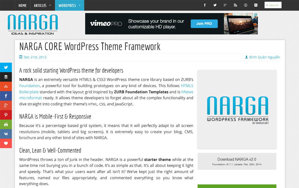 NARGA CORE WordPress Theme Framework