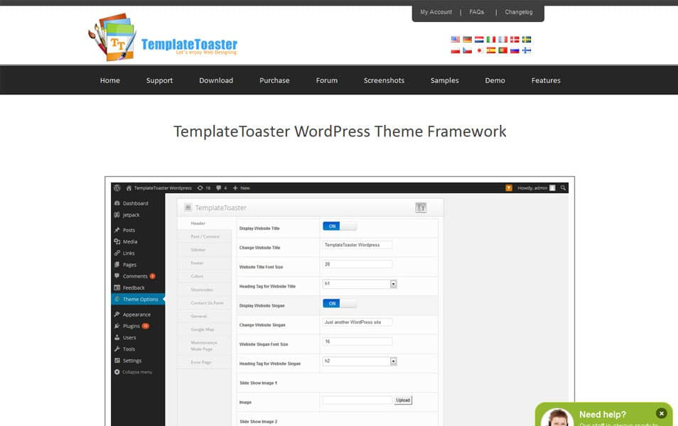 TemplateToaster WordPress Theme Framework