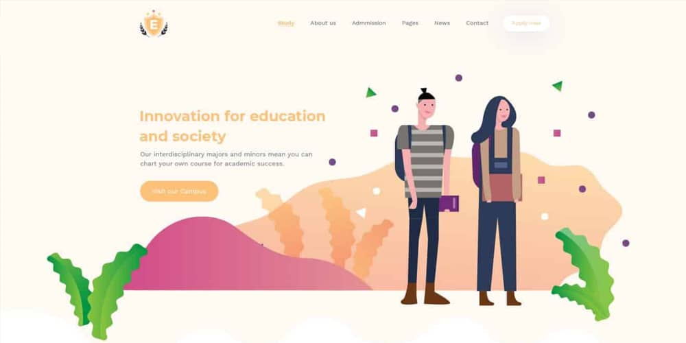 Education and LMS Template PSD