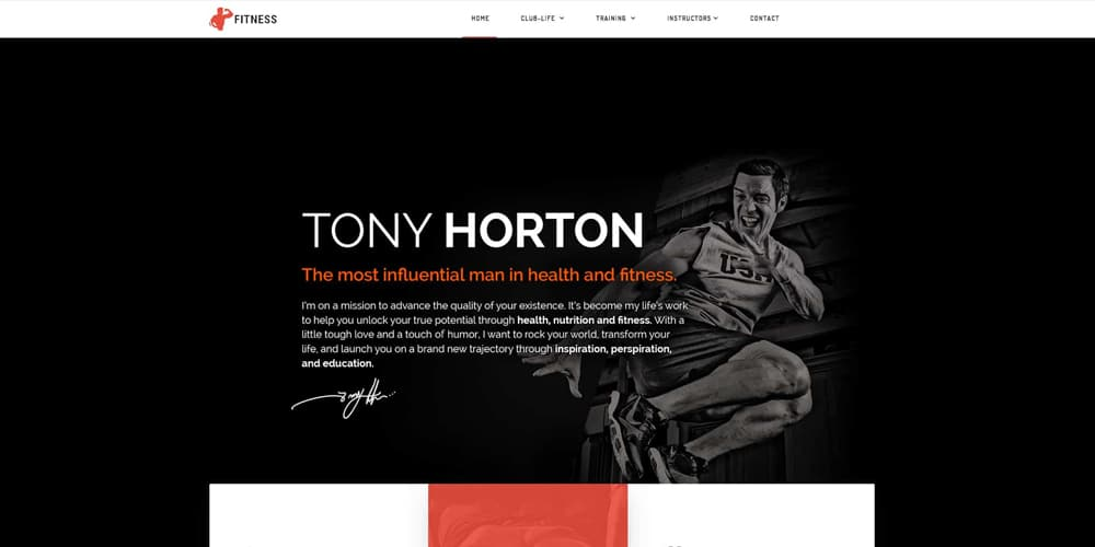 Fitness Instructor, Coach, Gym Web Template PSD