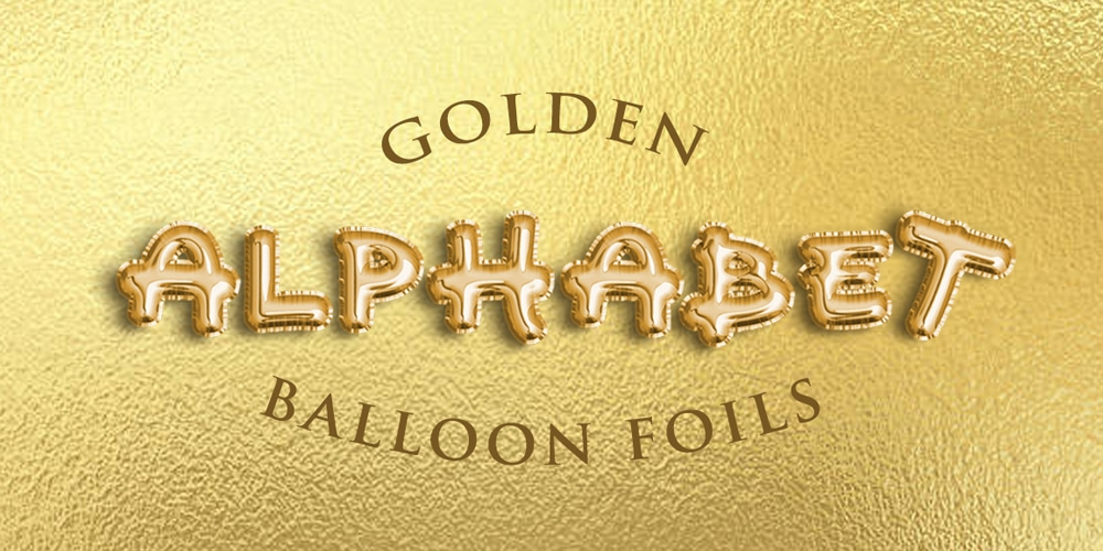 Golden Alphabet Balloon Foils Text Effect PSD