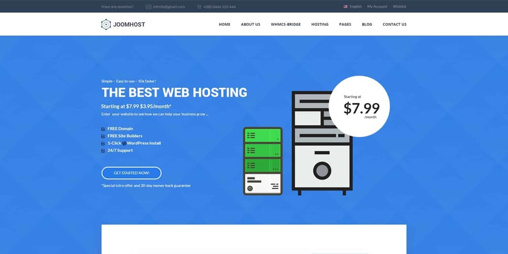 JoomHost Cloud Hosting Landing Page Template PSD