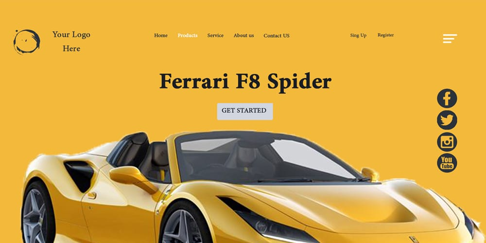 Lotus Headers Car for Landing Pages