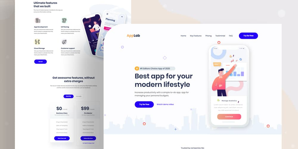 Mobile App Landing Page PSD