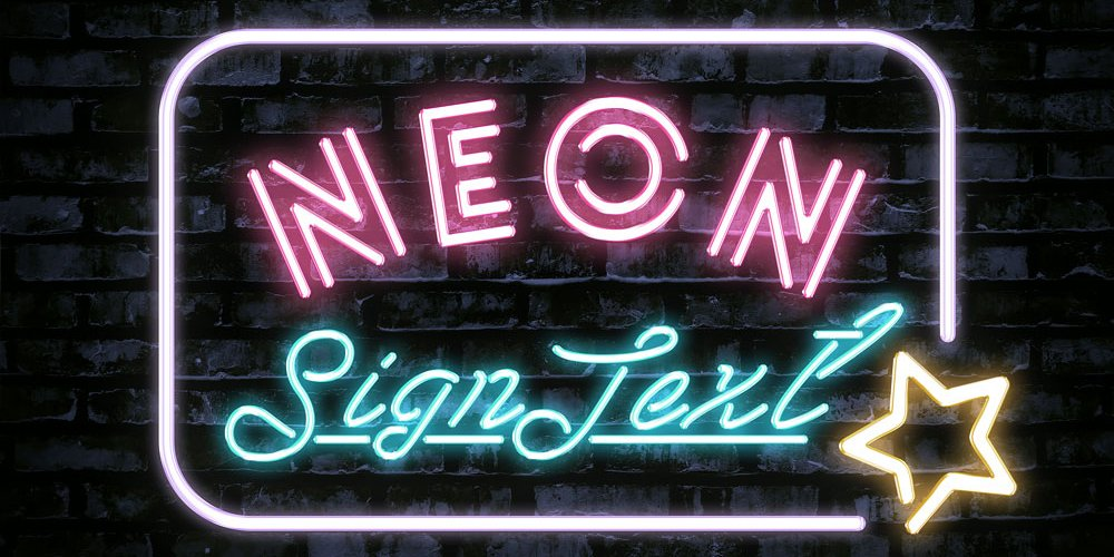 Neon Sign Text Effect PSD