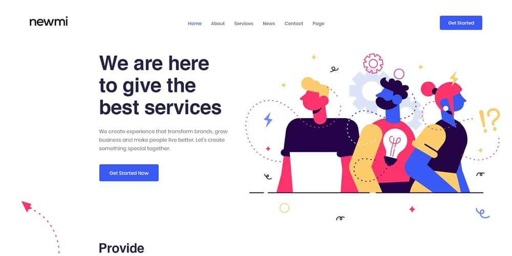 Newmi Creative Agency and Business Landing Page