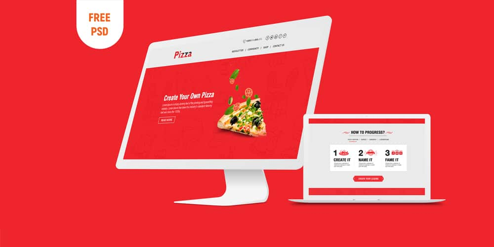 Online Pizza Template PSD