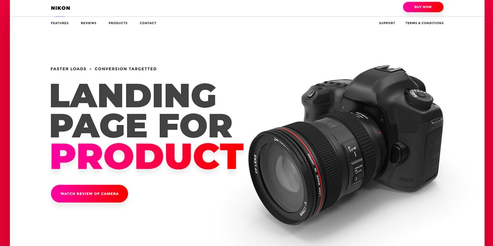 Product Landing Page Web Template PSD