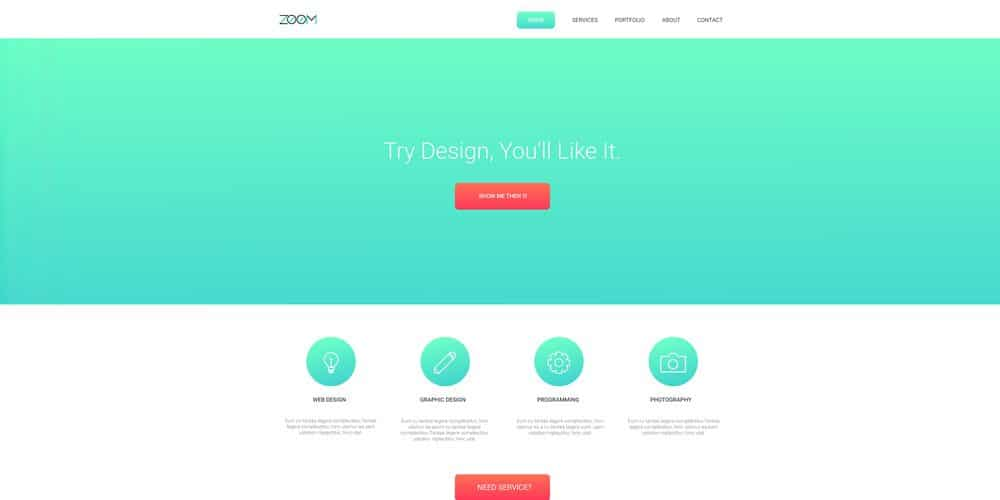 Zoom Single Page Template PSD