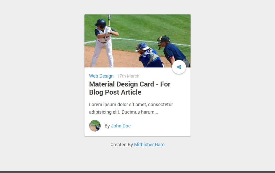 Material Design Card For Blog Post Article