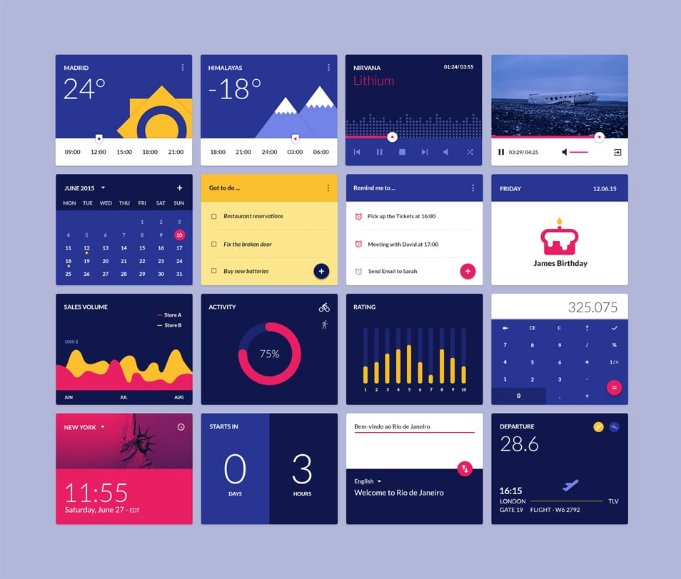 Material Design Widgets Ui Kit PSD