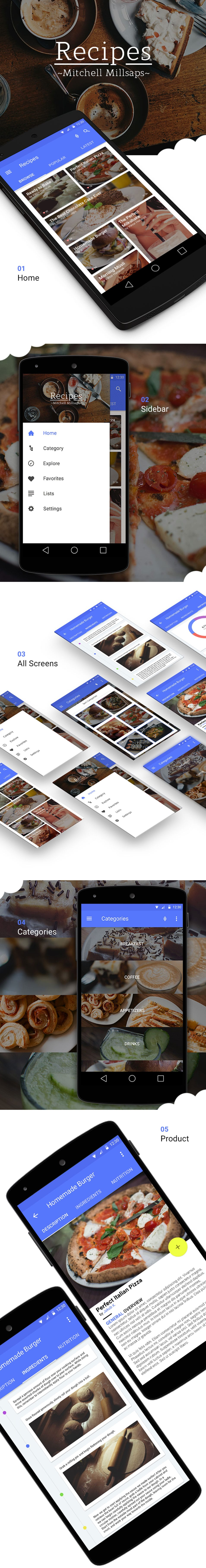 Recipes Material Design Free App Mockup