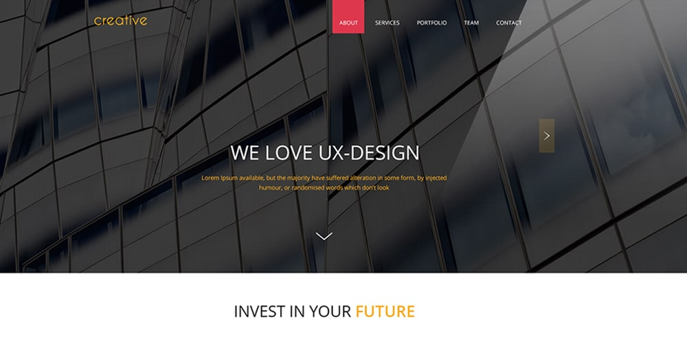 Creative One Page Theme PSD