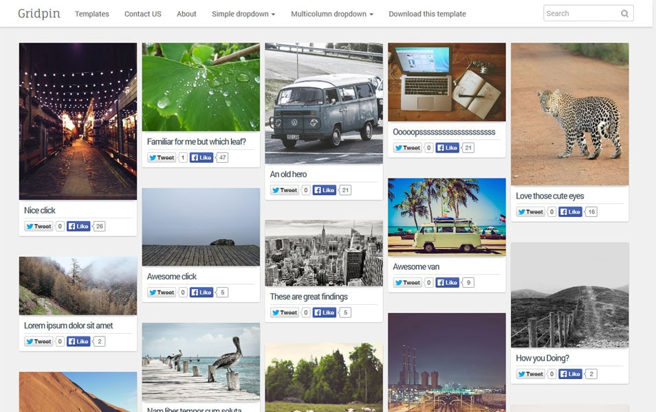 Grid Pin Responsive Masonry Photography Blogger Template