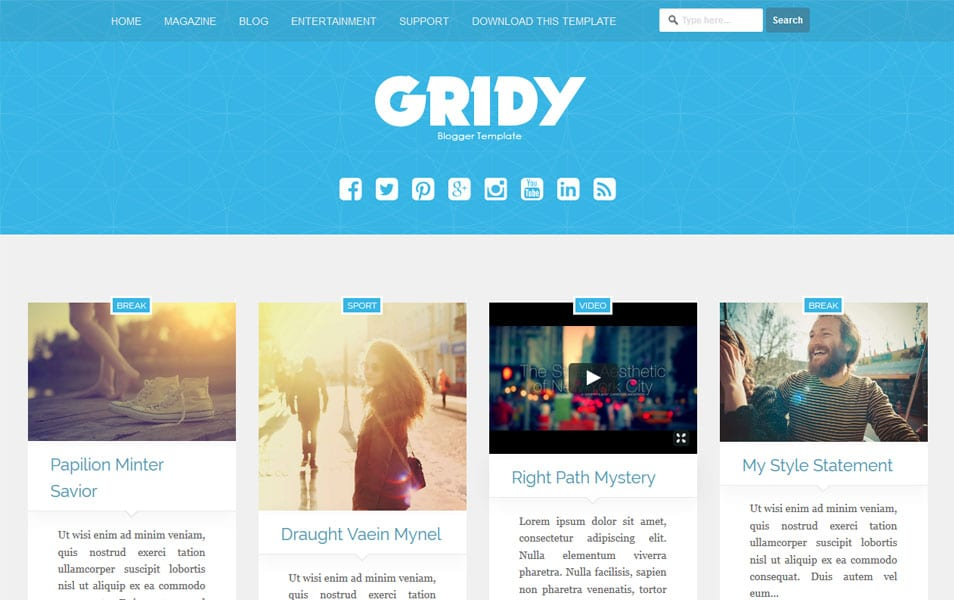 Gridy Responsive Blogger Template