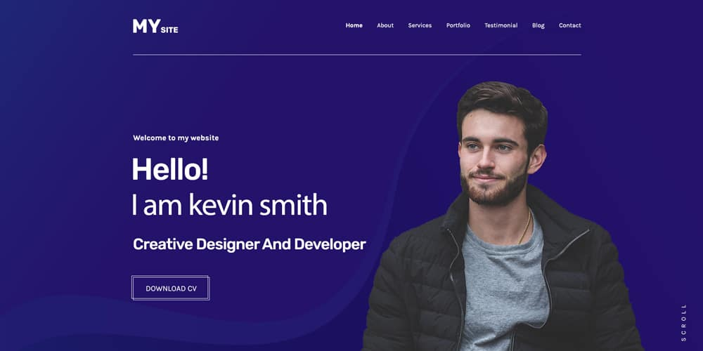 One Page personal Portfolio Template PSD