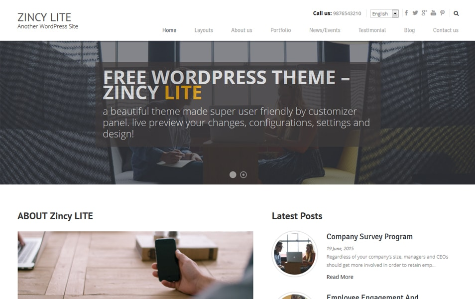 Zincy Lite Responsive WordPress Theme