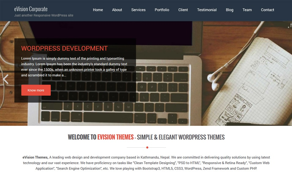 eVision Corporate Responsive WordPress Theme