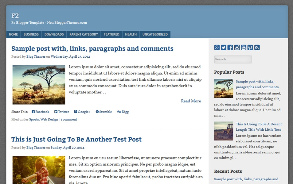 F2 Responsive Blogger Template