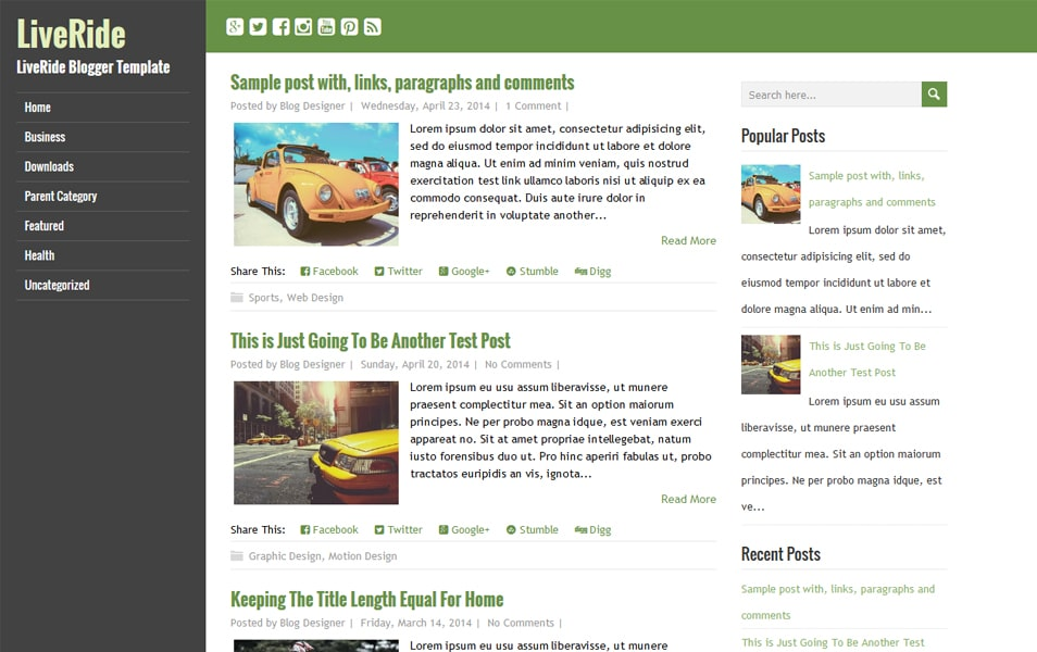 LiveRide Responsive Blogger Template