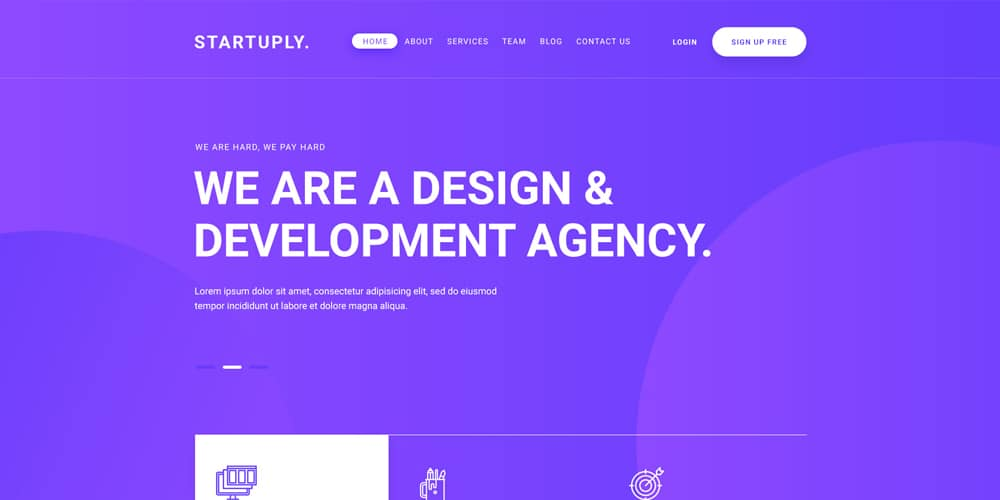Startuply Design Agency Landing Page PSD