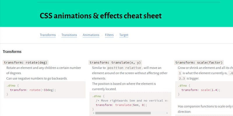 CSS Animations and Effects Cheat Sheet