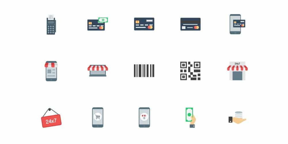 Flat E commerce Icons