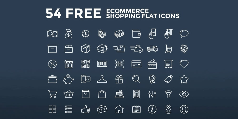 Free Ecommerce Stroke Icons PSD