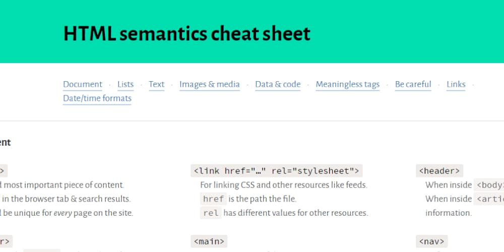 HTML Semantics Cheat Sheet
