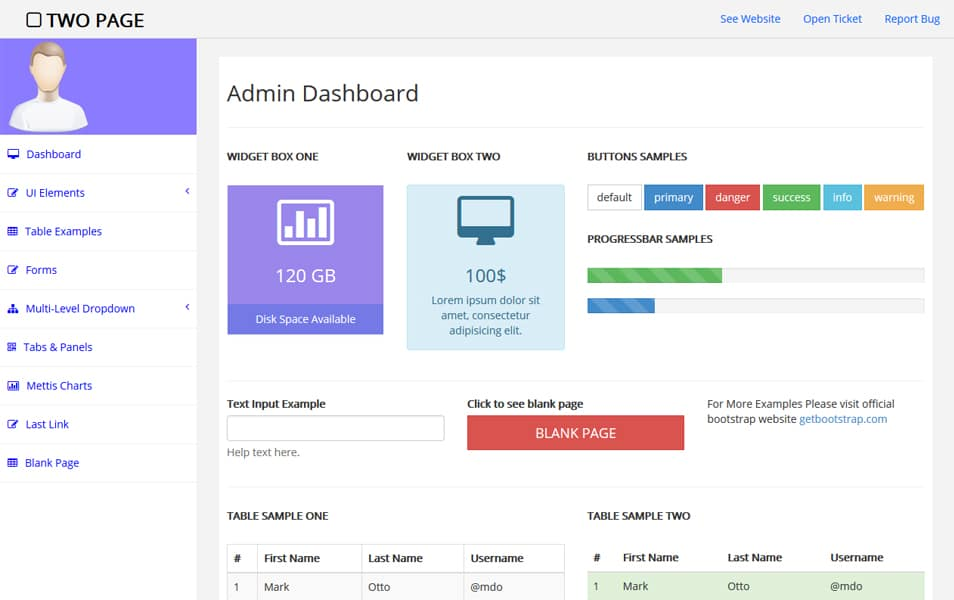 Two Page - Free bootstrap admin template