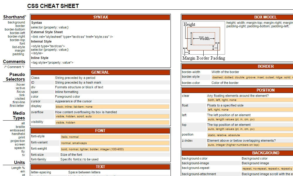 css reference sheet