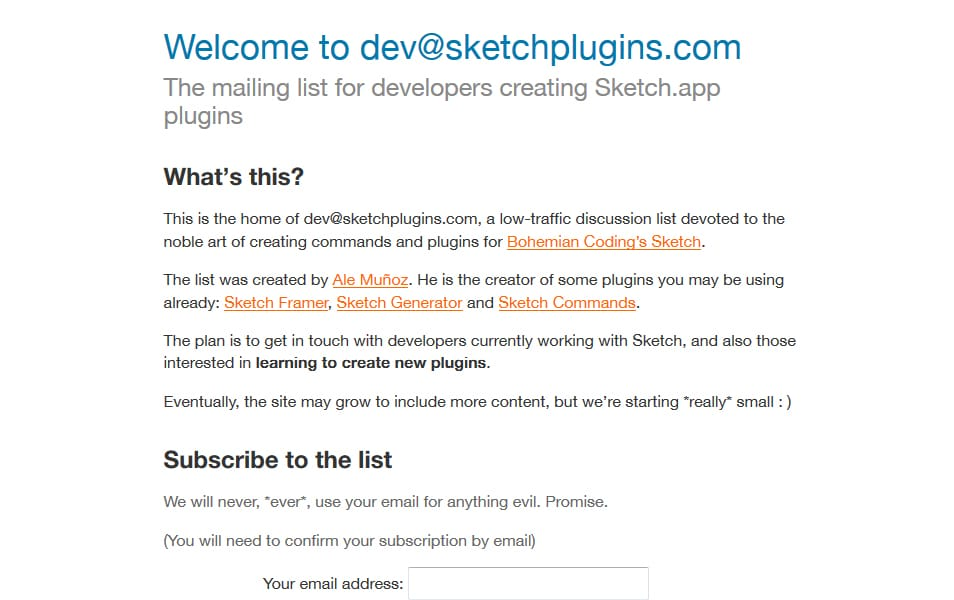 Sketch Plugins Mailing List