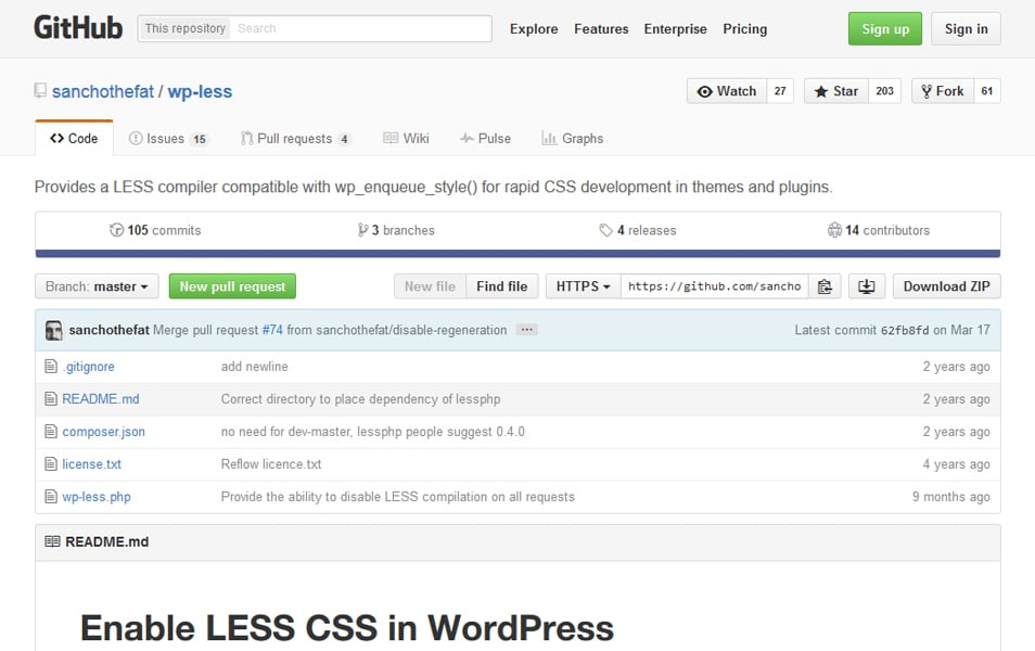 Enable LESS CSS in WordPress